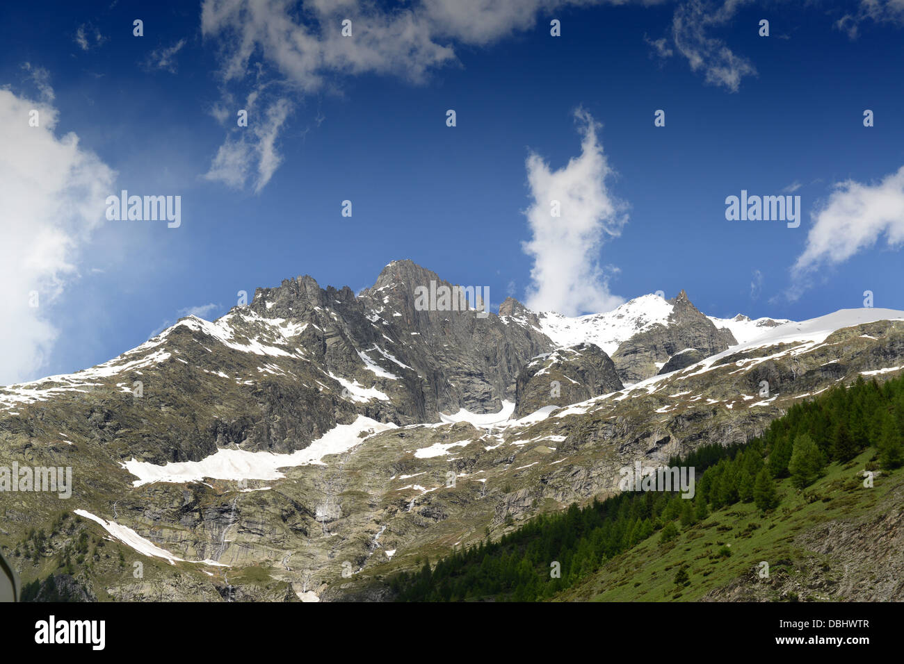 Mont Blanc or Monte Bianco from the Italian side of the tunnel in summer - Stock Image