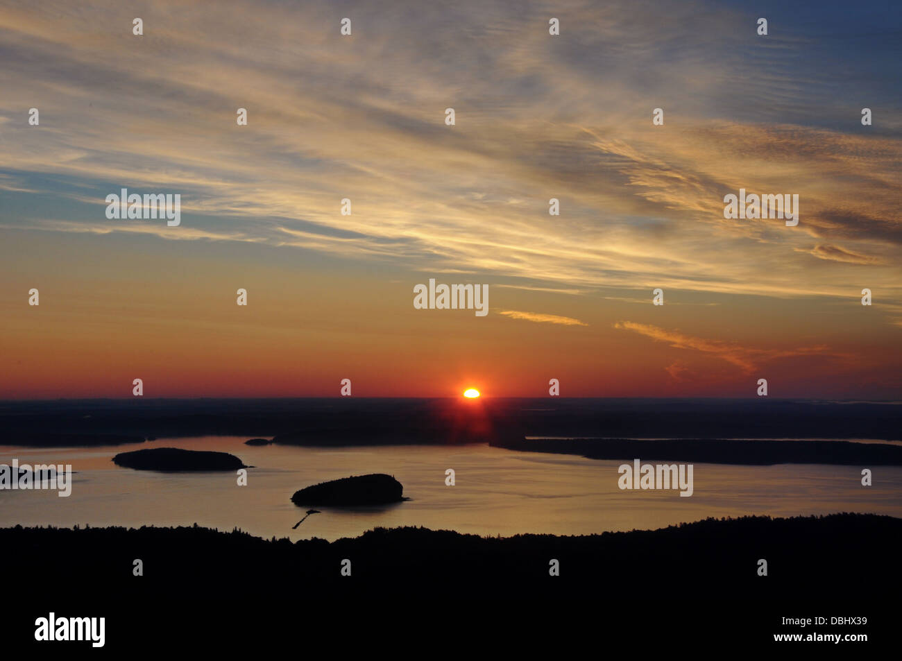 Rising sun from the top of Cadillac Mountain in Acadia National Park Maine - Stock Image