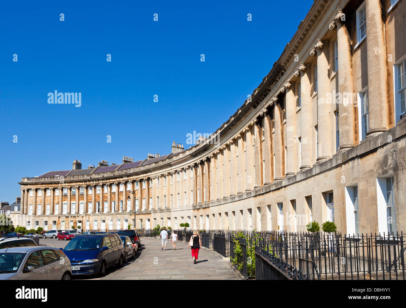 The Royal crescent terrace of Georgian houses with ornate railings Bath North east Somerset England - Stock Image
