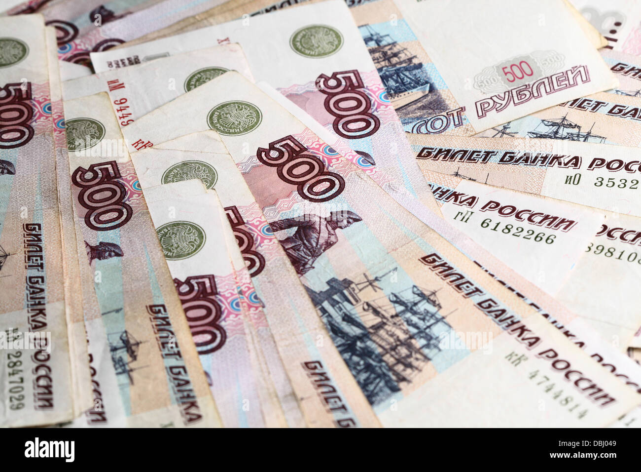 500 rubles macro background - Stock Image