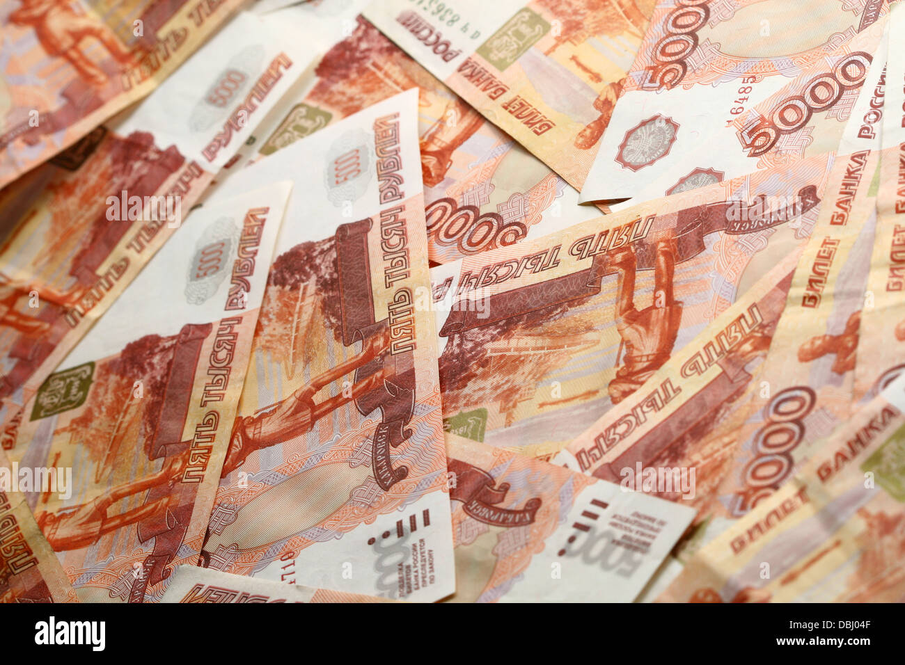 5000 rubles macro background - Stock Image