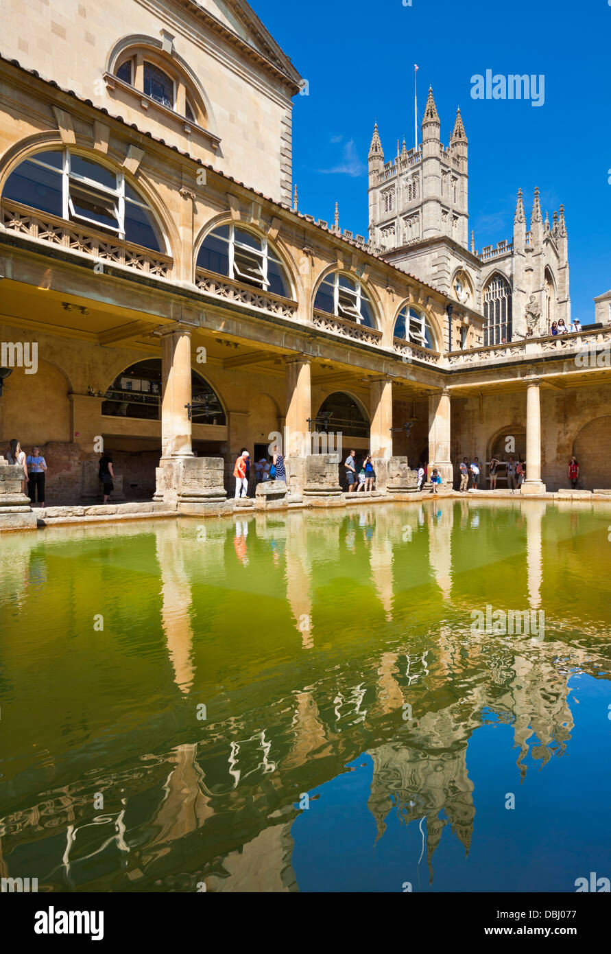 The Roman Baths, the great bath, the only hot springs in the UK, Bath city centre north east Somerset England UK - Stock Image