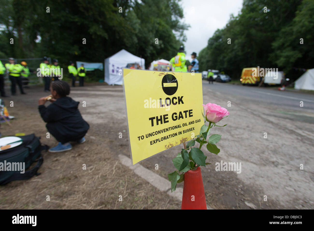 Balcombe, West Sussex, UK. 31st July, 2013. Lock the Gate placard and flower on road cone at Cuadrilla site entrance. Protest against Cuadrilla drilling & fracking just outside the village of Balcombe in West Sussex. Balcombe, West Sussex, UK. Credit:  martyn wheatley/Alamy Live News Stock Photo