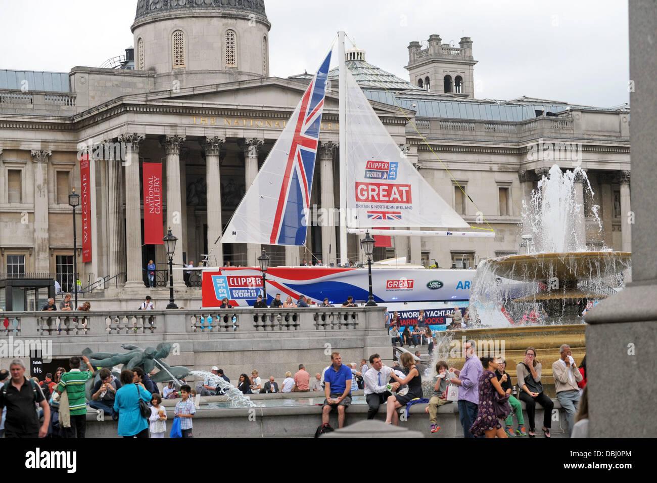 London, UK. Clipper Great Britain in Trafalgar Square London. The boat will compete in the 2013-14 Clipper Round Stock Photo