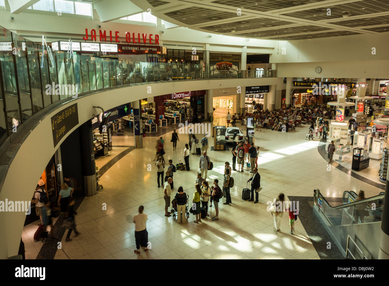 The Departure Lounge at Gatwick Airport London, showing the entrance to the Duty Free shopping area. - Stock Image
