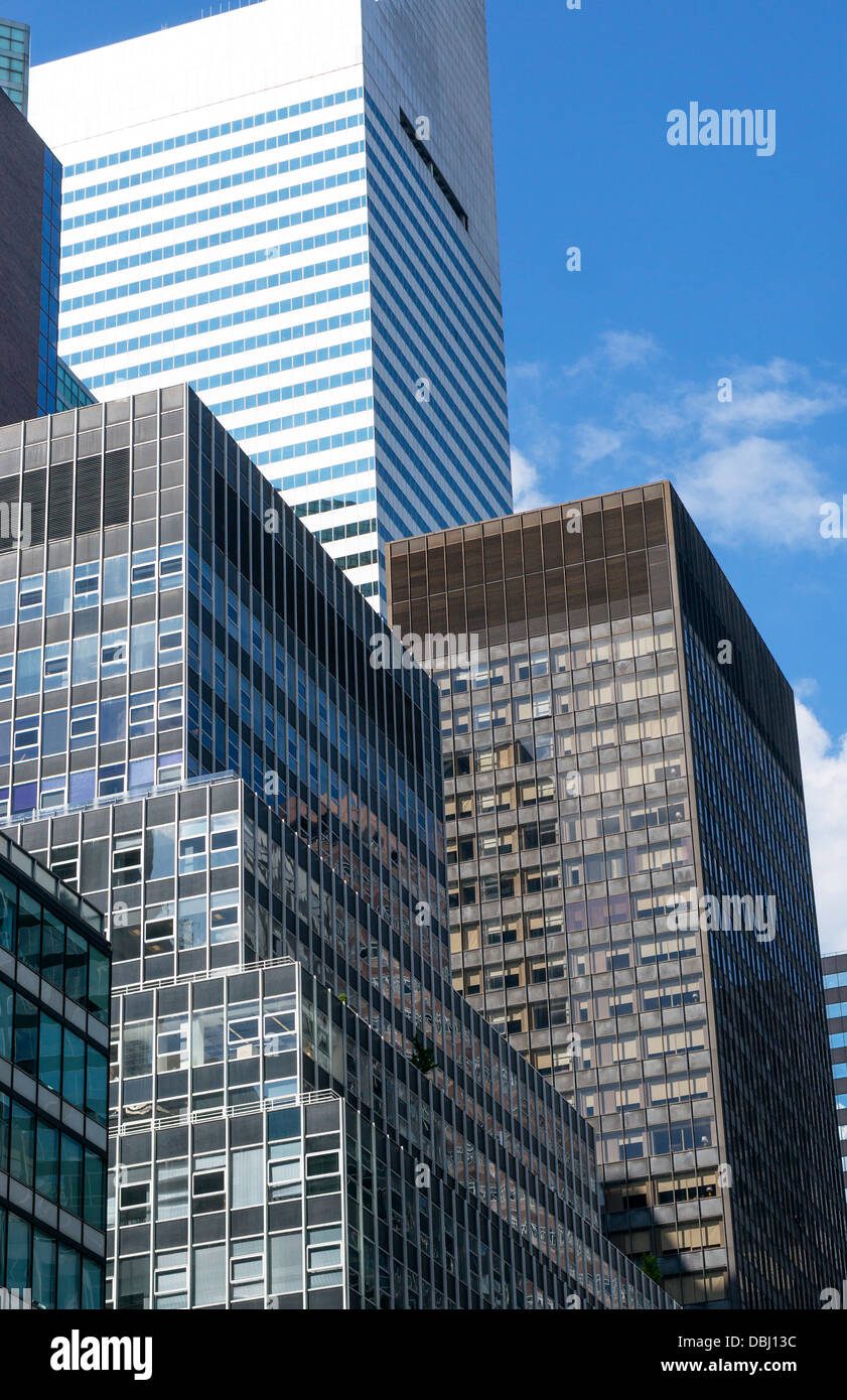 Skyscrapers on Third Avenue in midtown Manhattan in New York City - Stock Image