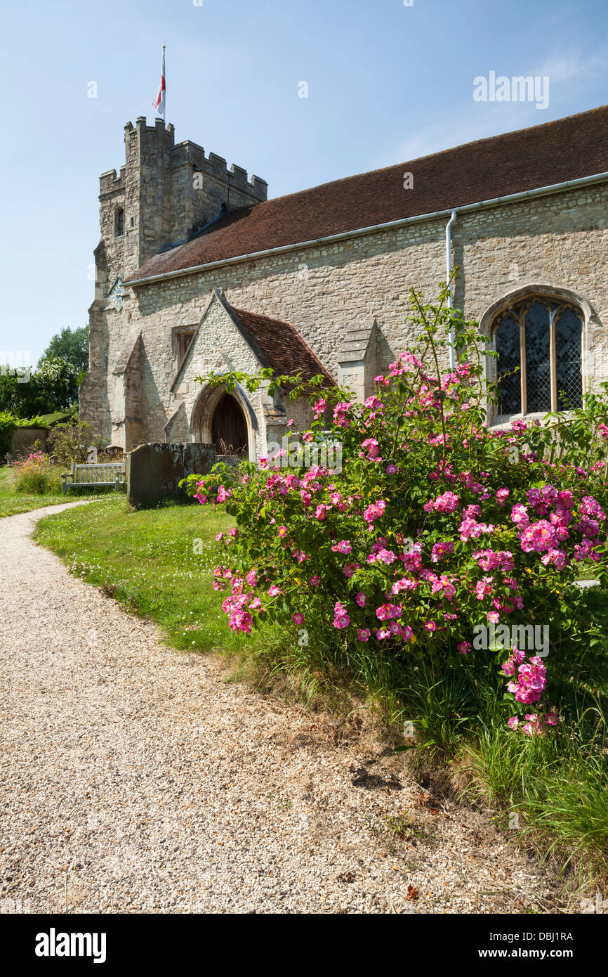 St Nicholas' church in the small and picturesque village of Nether or Lower Winchendon, Chilterns, Buckinghamshire, - Stock Image