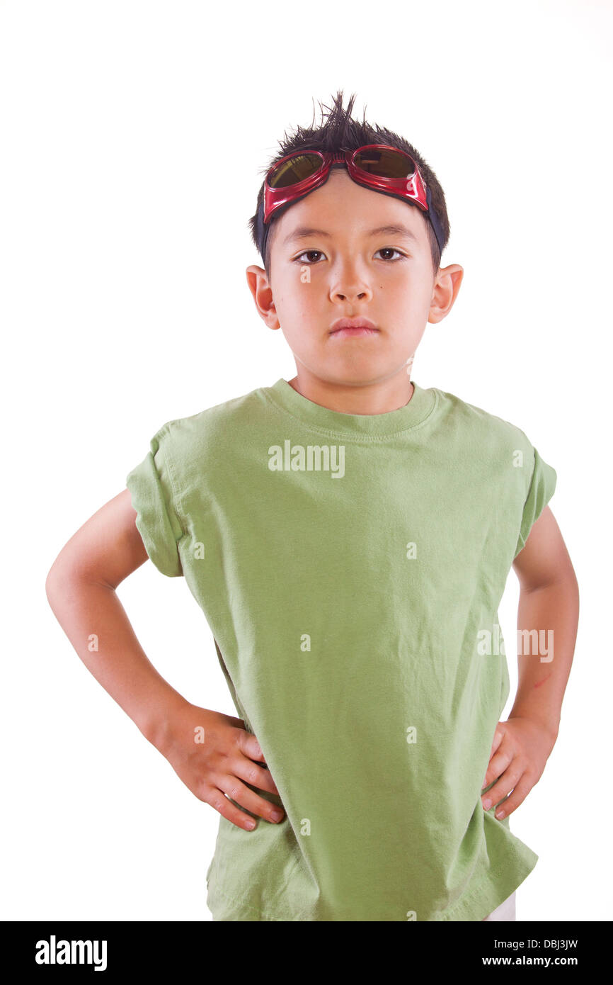Young boy with a tough look. - Stock Image