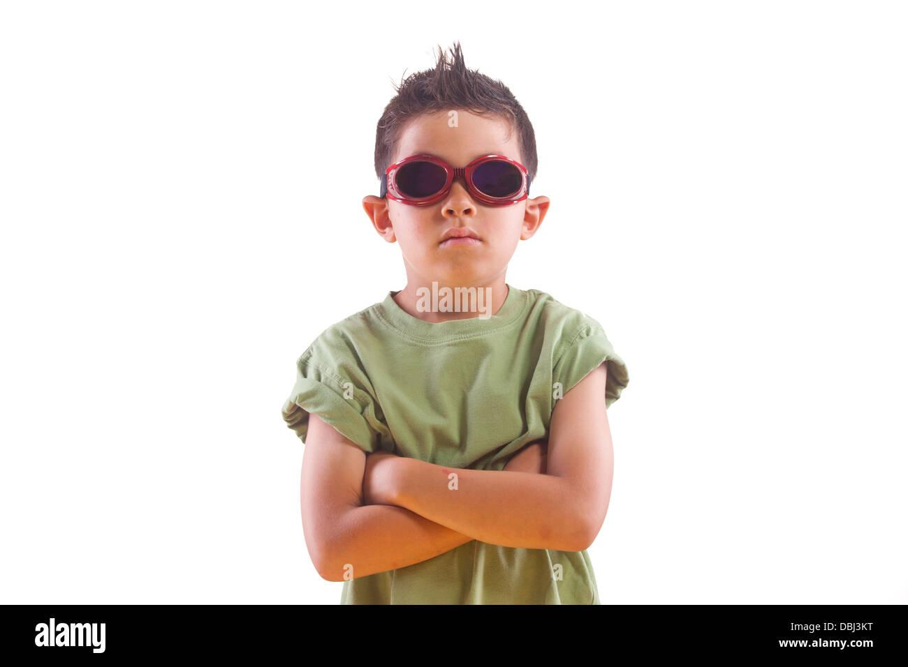 Tough boy wearing goggles. - Stock Image