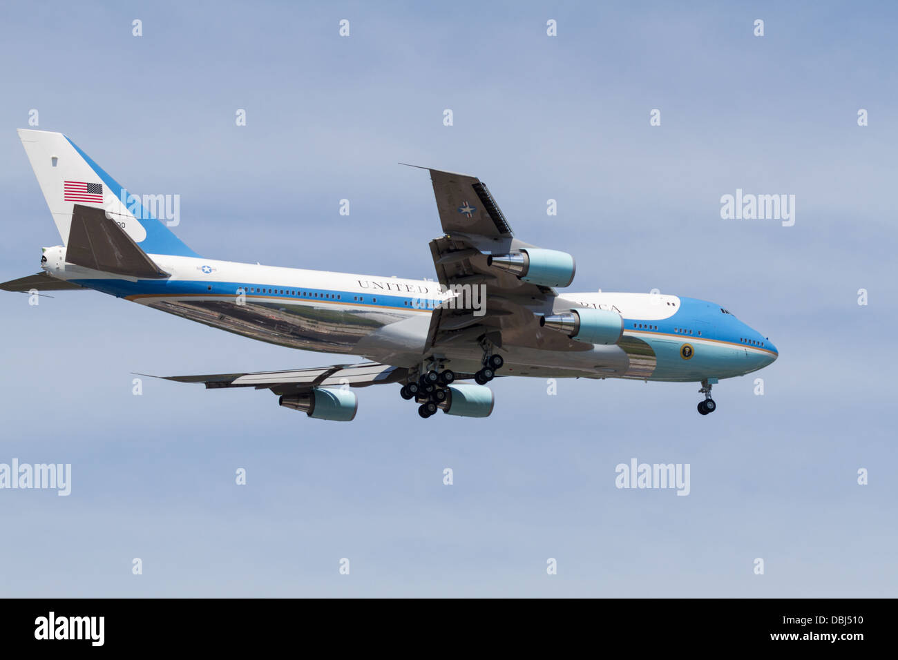 Air Force One on approach to land at Chattanooga, Tennessee. - Stock Image
