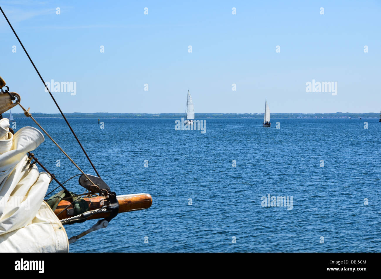 Sailing on the Baltic sea towards the island Oland in Sweden - Stock Image