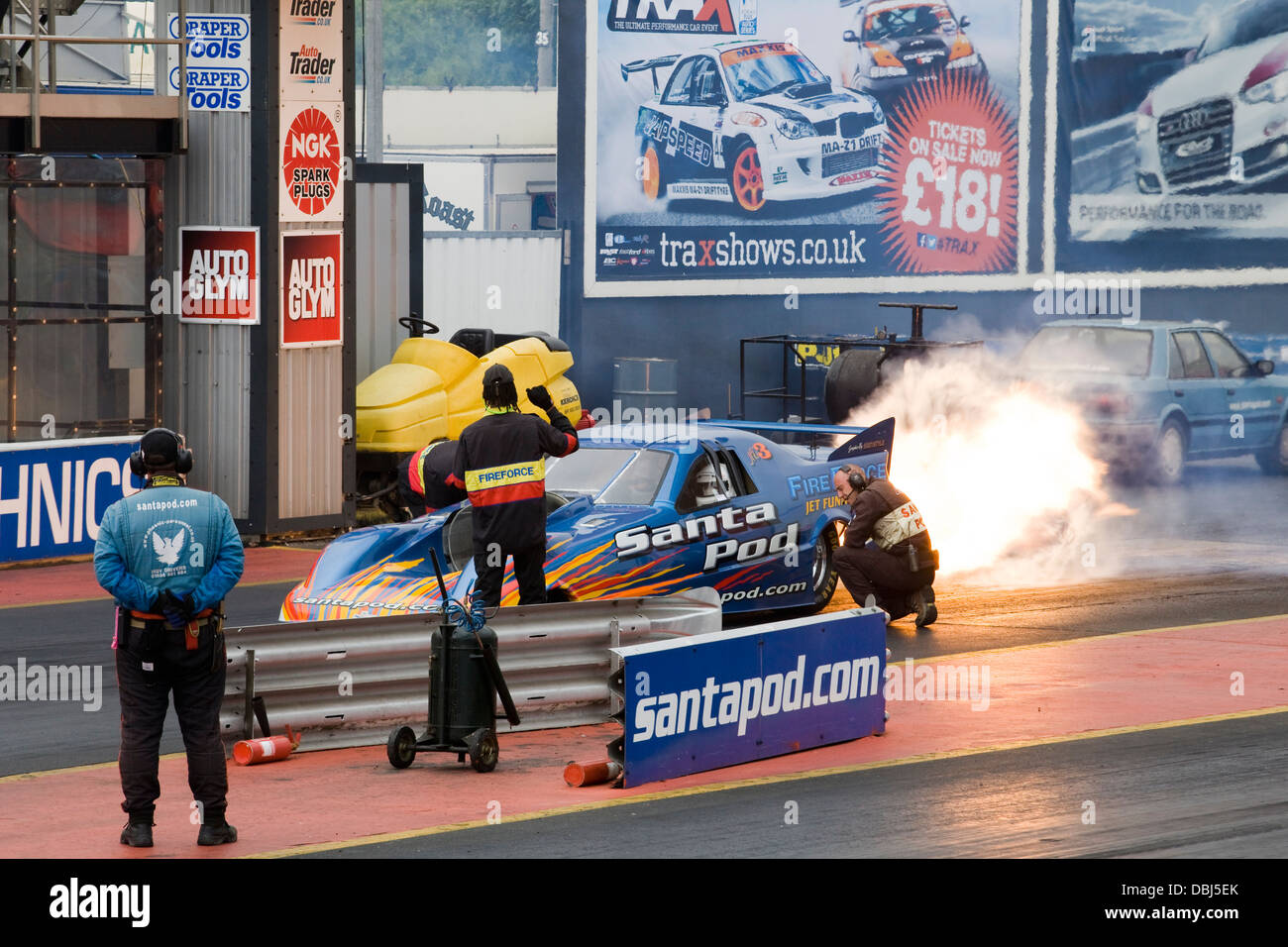 Jet Funny Car pilot Martin Hill takes to the track with Fire force 3 Santa pod Raceway - Stock Image