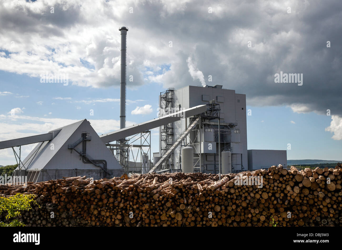 Large biomass fuel plants power plant. The 44 MWe Bubbling Fluidised Bed system, Steven's Croft, UK's largest - Stock Image