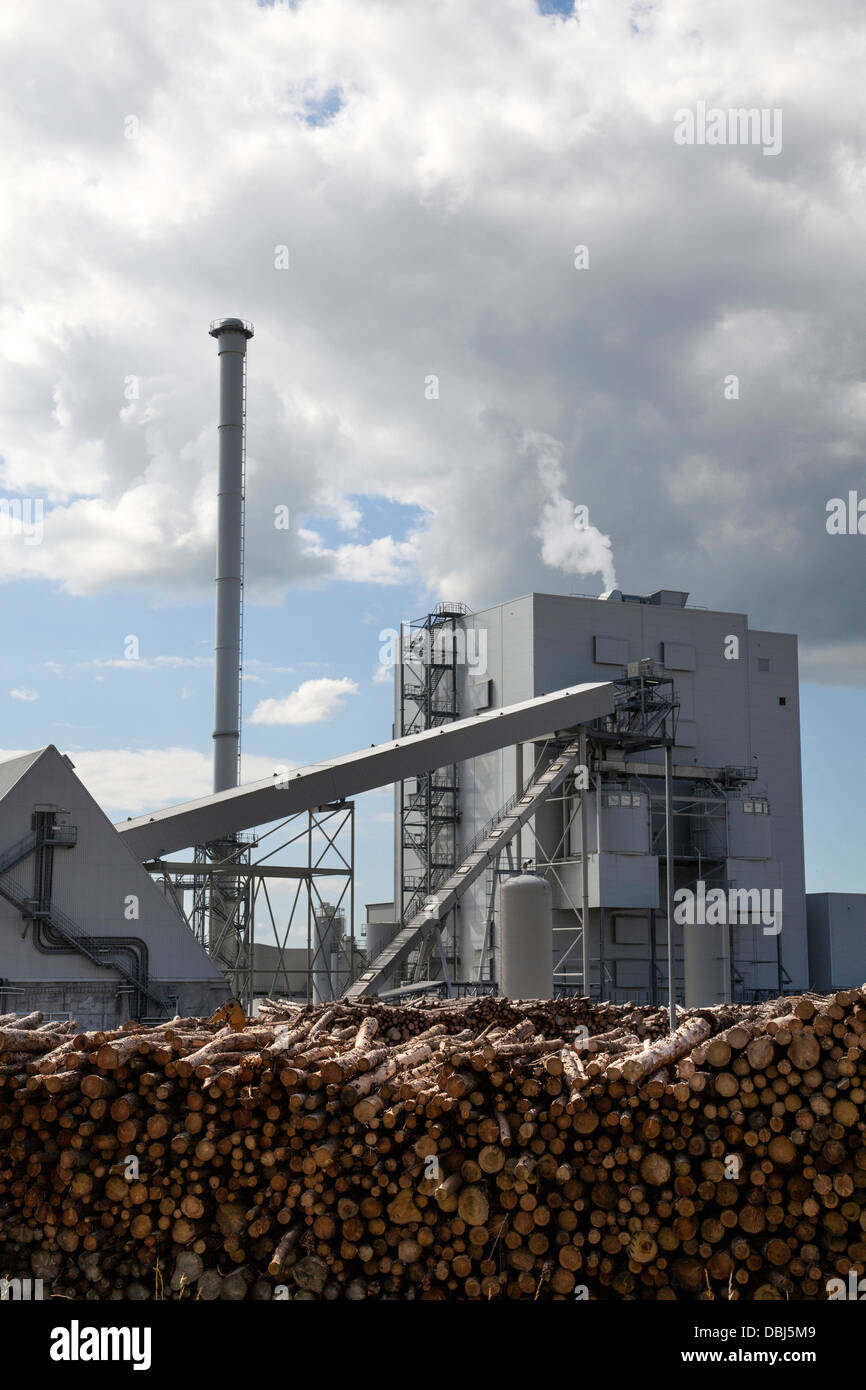 Large biomass fuel plants power plant. The 44 MWe Bubbling Fluidised Bed system at Steven's Croft, UK's - Stock Image