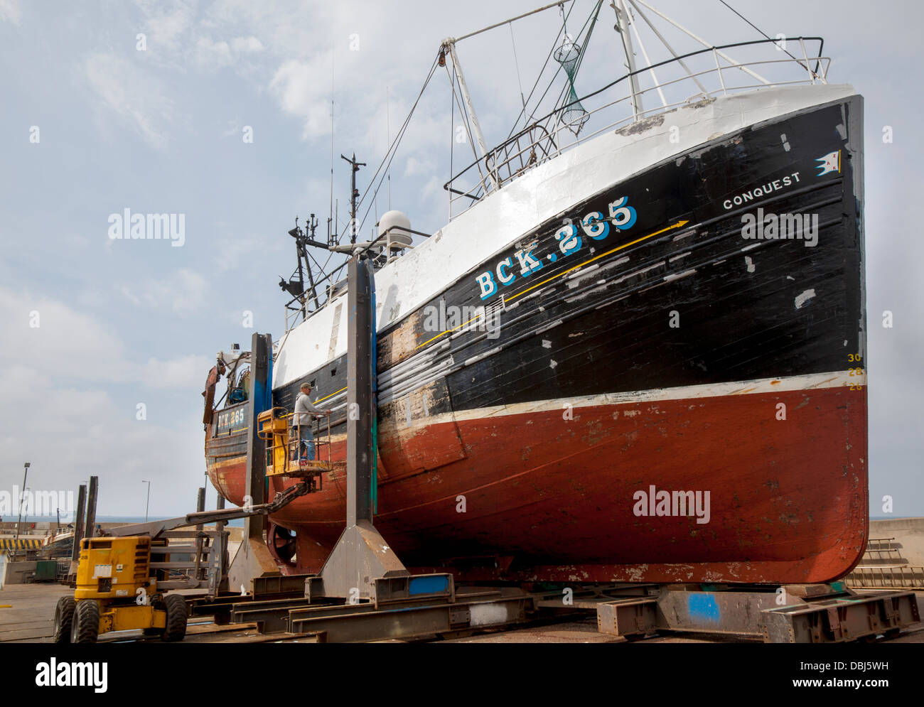Conquest BCK 265 trawler _ Scottish Fishing Fleet being repaired and refurbished at Macduff dry-dock, Morayshire, - Stock Image