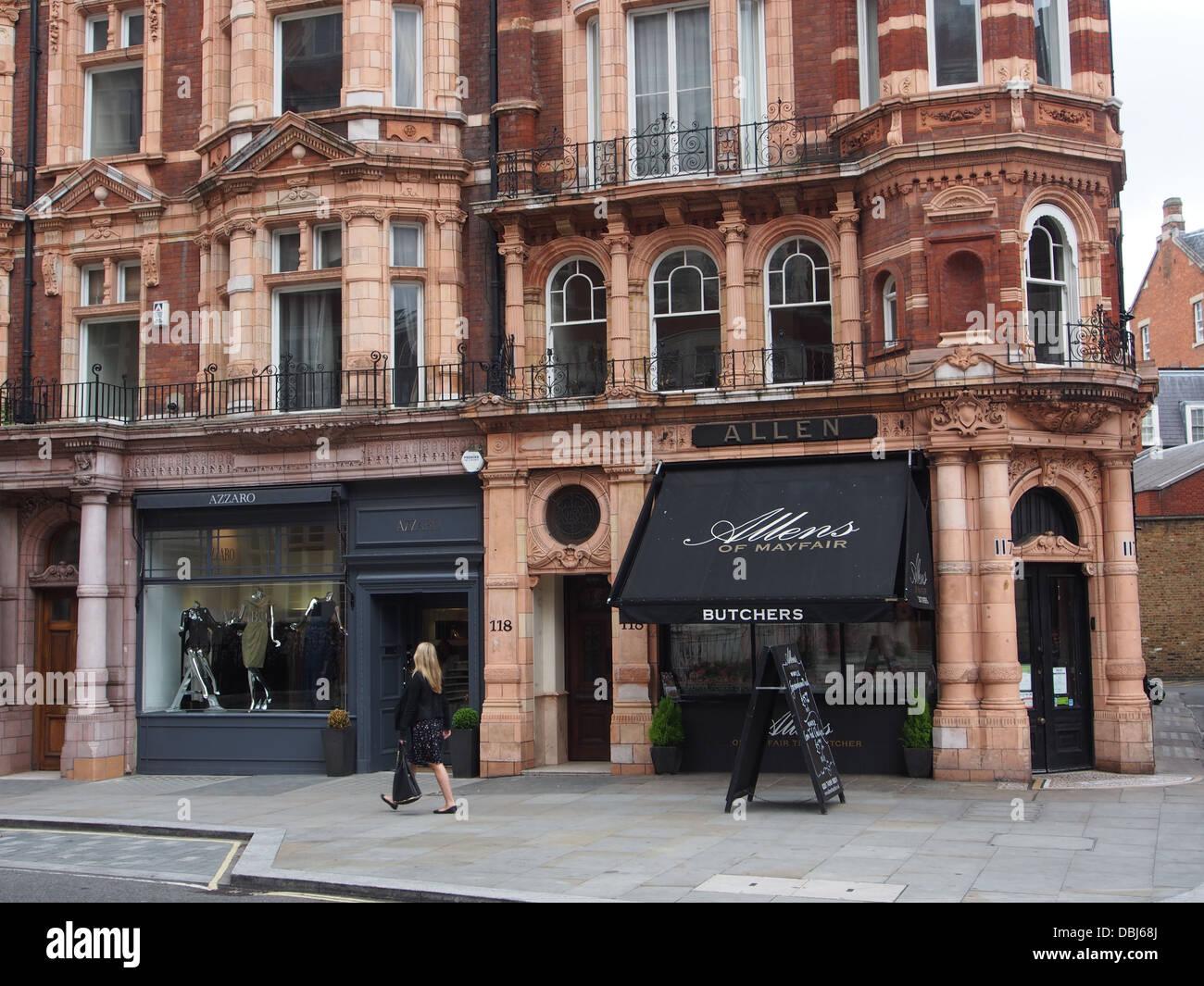 London Mayfair street expensive shops - Stock Image