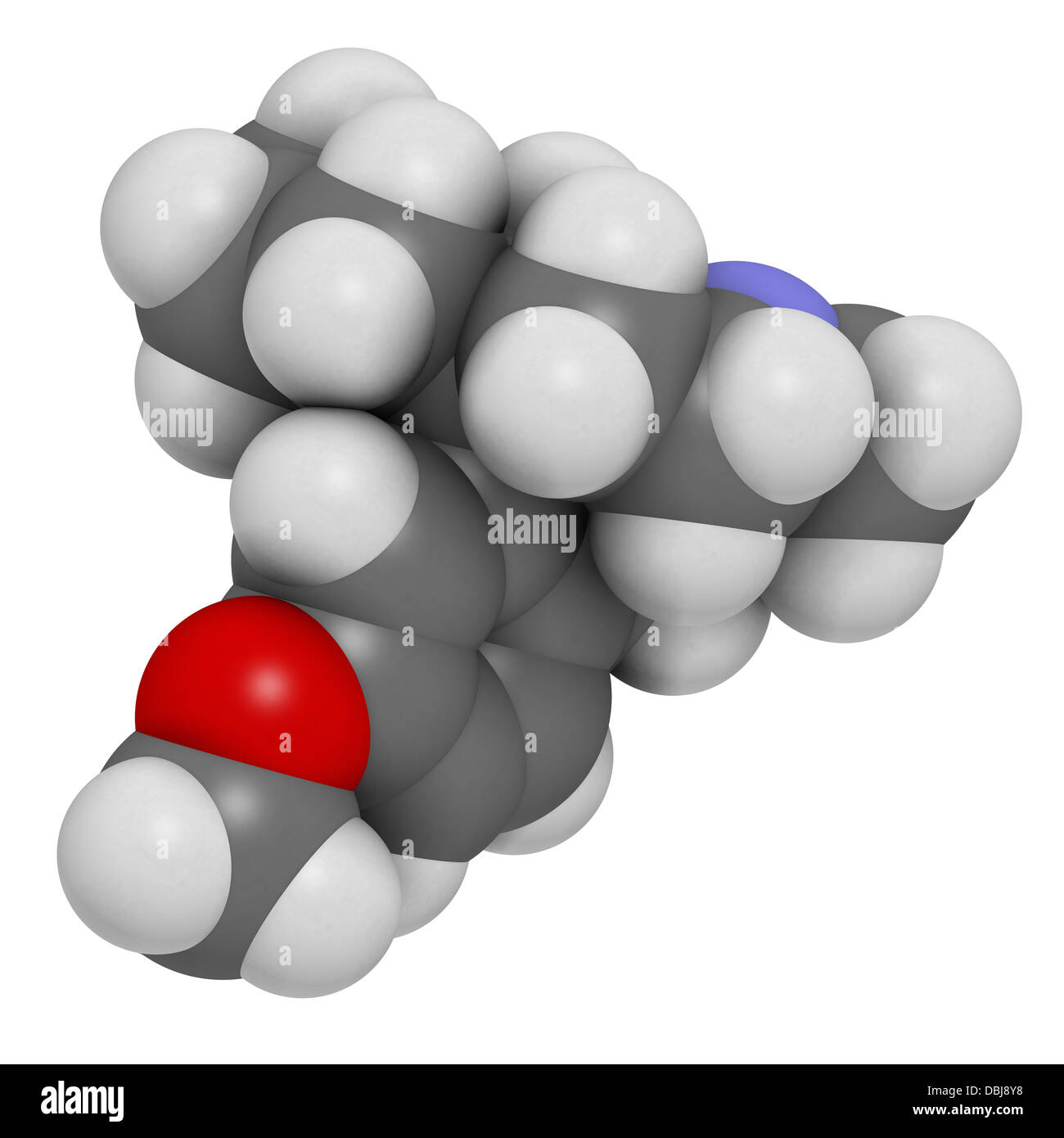 Dextromethorphan cough suppressant drug (antitussive), chemical structure. Atoms are represented as spheres. - Stock Image