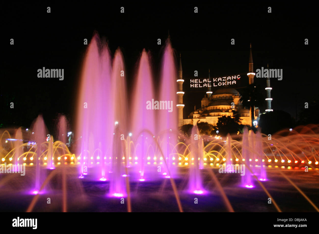 Historical Blue Mosque was prepared with lights for Ramadan Month in Istanbul ,Turkey - Stock Image