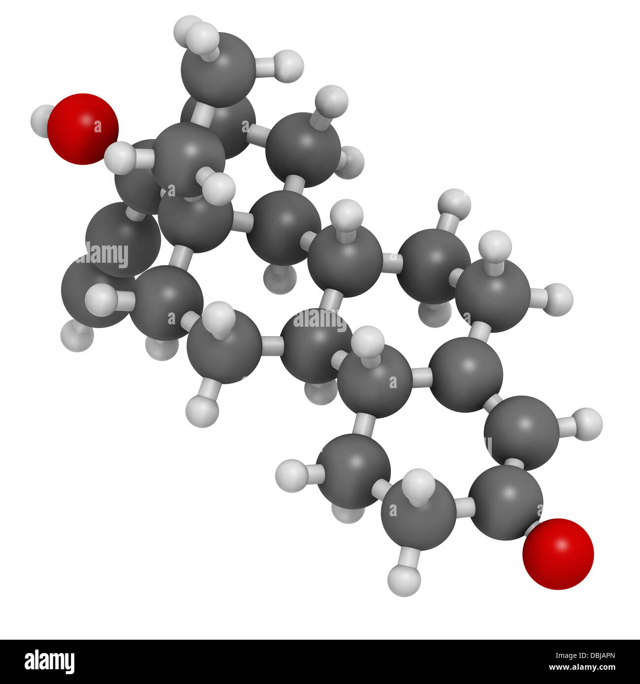 Levonorgestrel contraceptive pill drug, chemical structure. Atoms are represented as spheres with conventional color - Stock Image