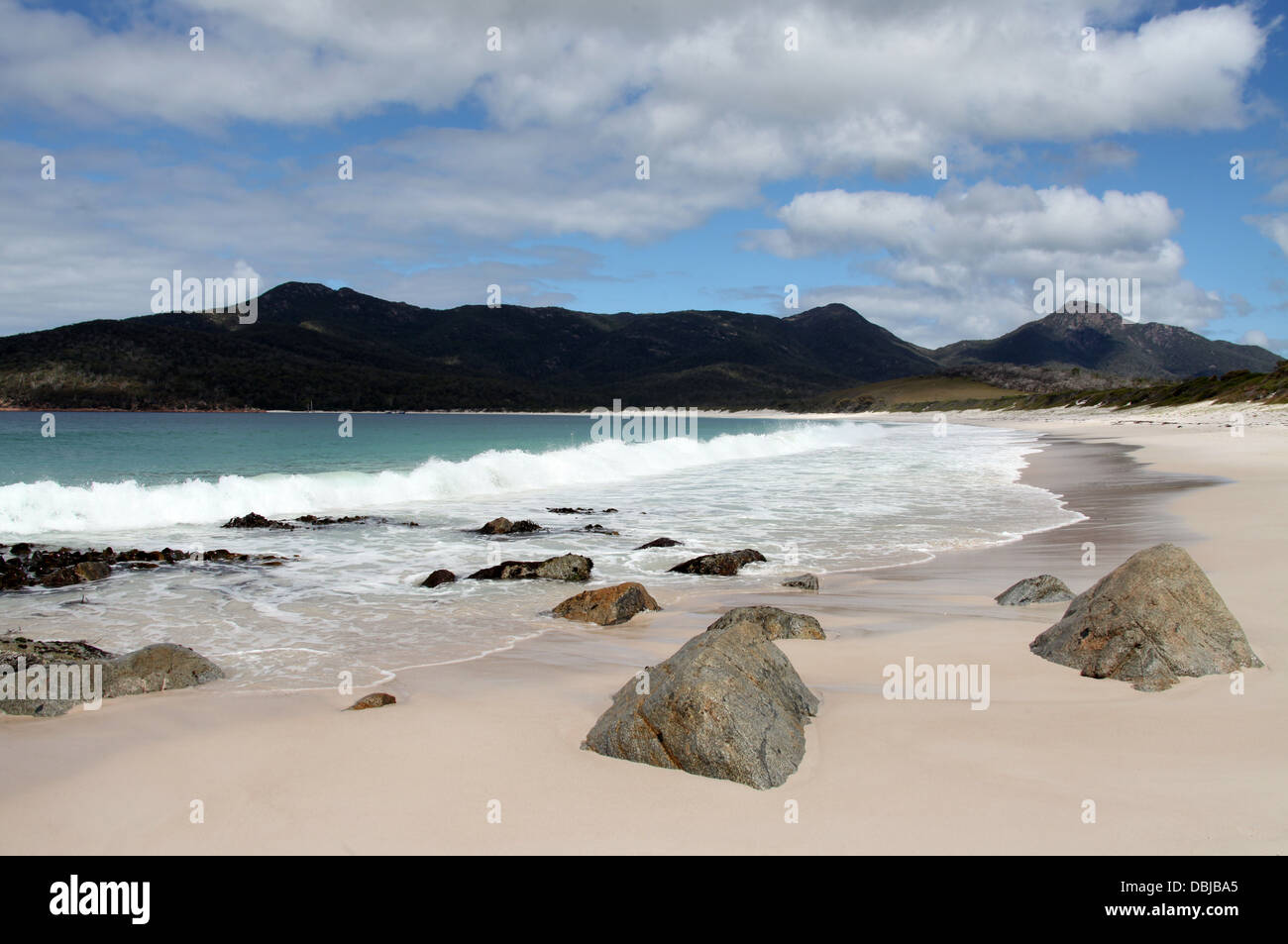 The fabulous beach of Wineglass Bay in Freycinet National Park which forms part of the Peninsula Circuit Walk. - Stock Image