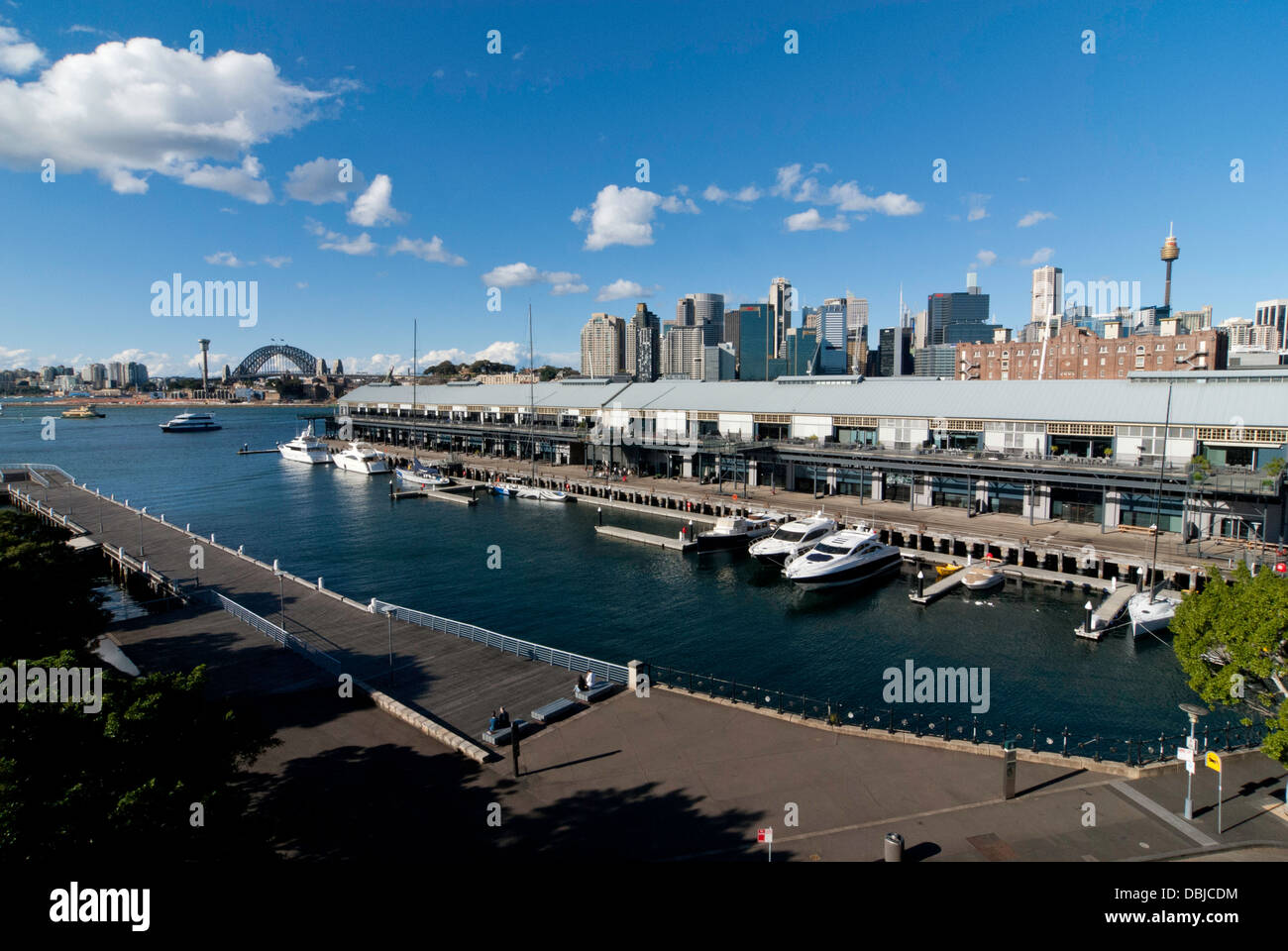 The view from Giba Park, looking down at regenerated wharves, Pyrmont, Sydney, Australia - Stock Image