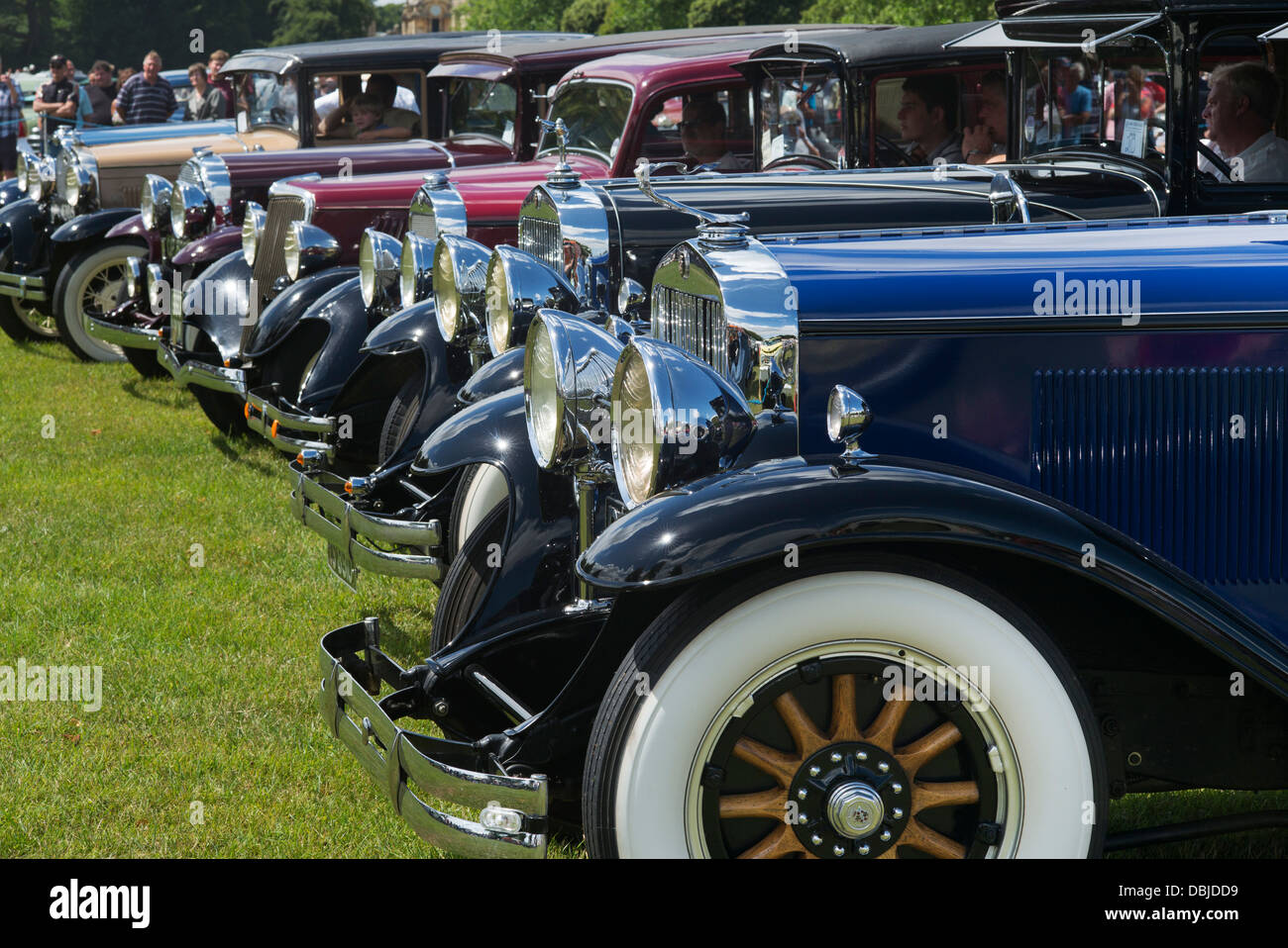 Vintage American cars at an American car show. Blenheim Palace Stock ...