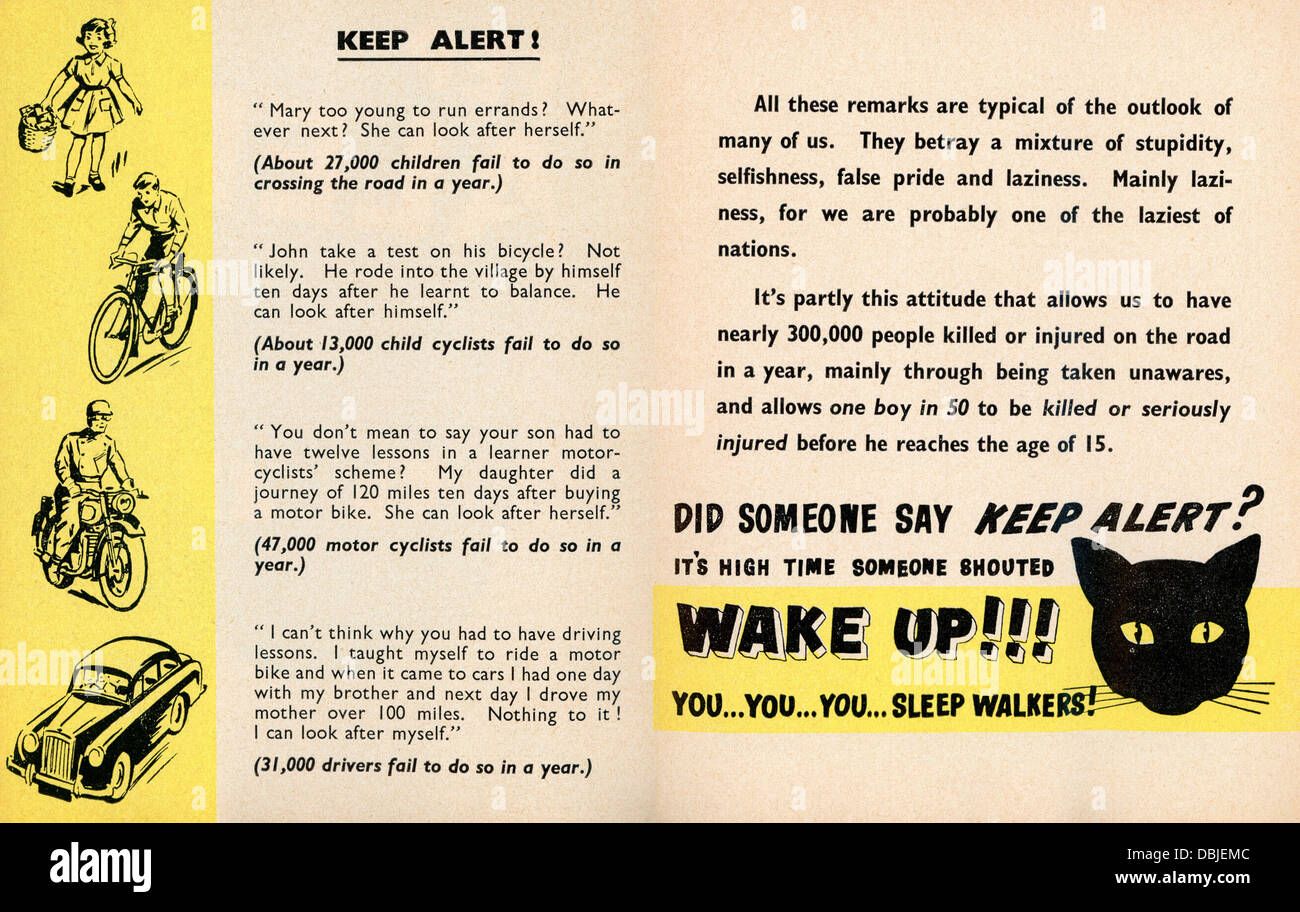 Royal Society for the Prevention of Accidents leaflet, undated but probably 1950s, warning of dangers of sleeping Stock Photo