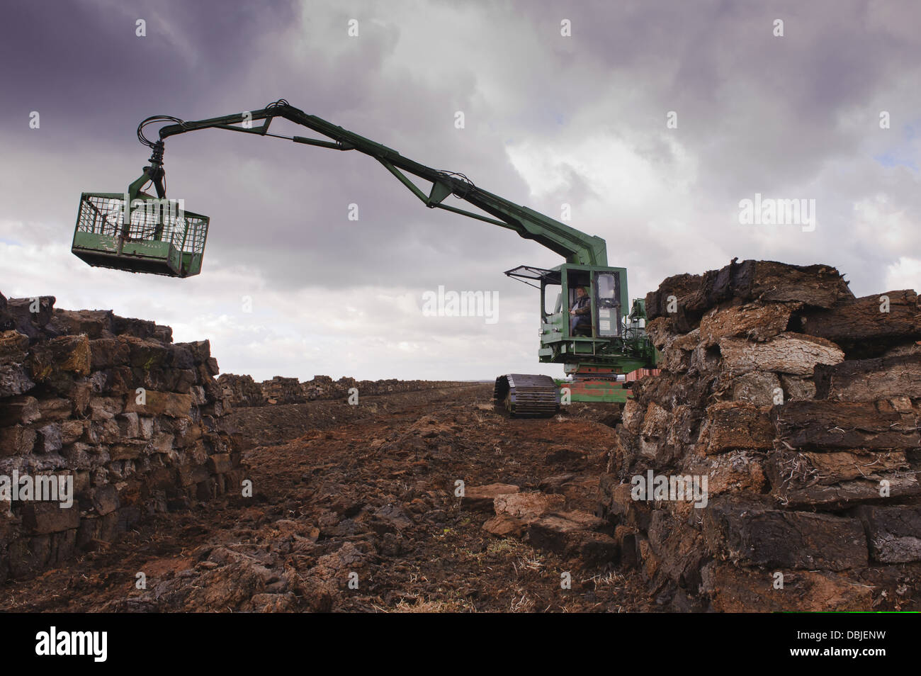 Peat extraction, Natura, Goldenstedt moor, Lower Saxony, Germany, Europe - Stock Image