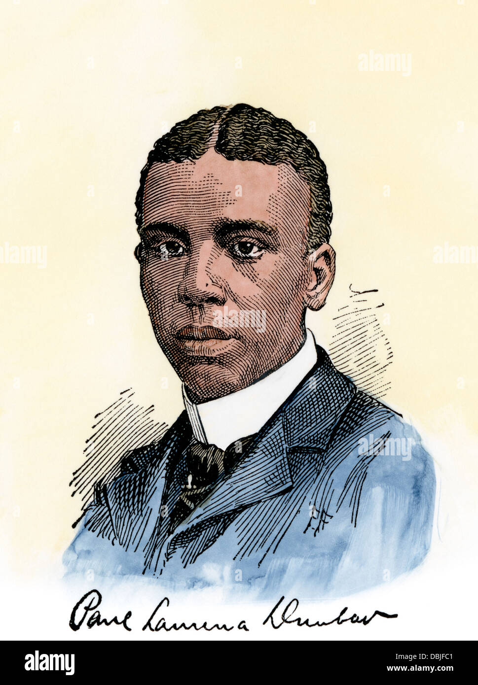 American poet Paul Lawrence Dunbar, with his autograph. Hand-colored woodcut - Stock Image