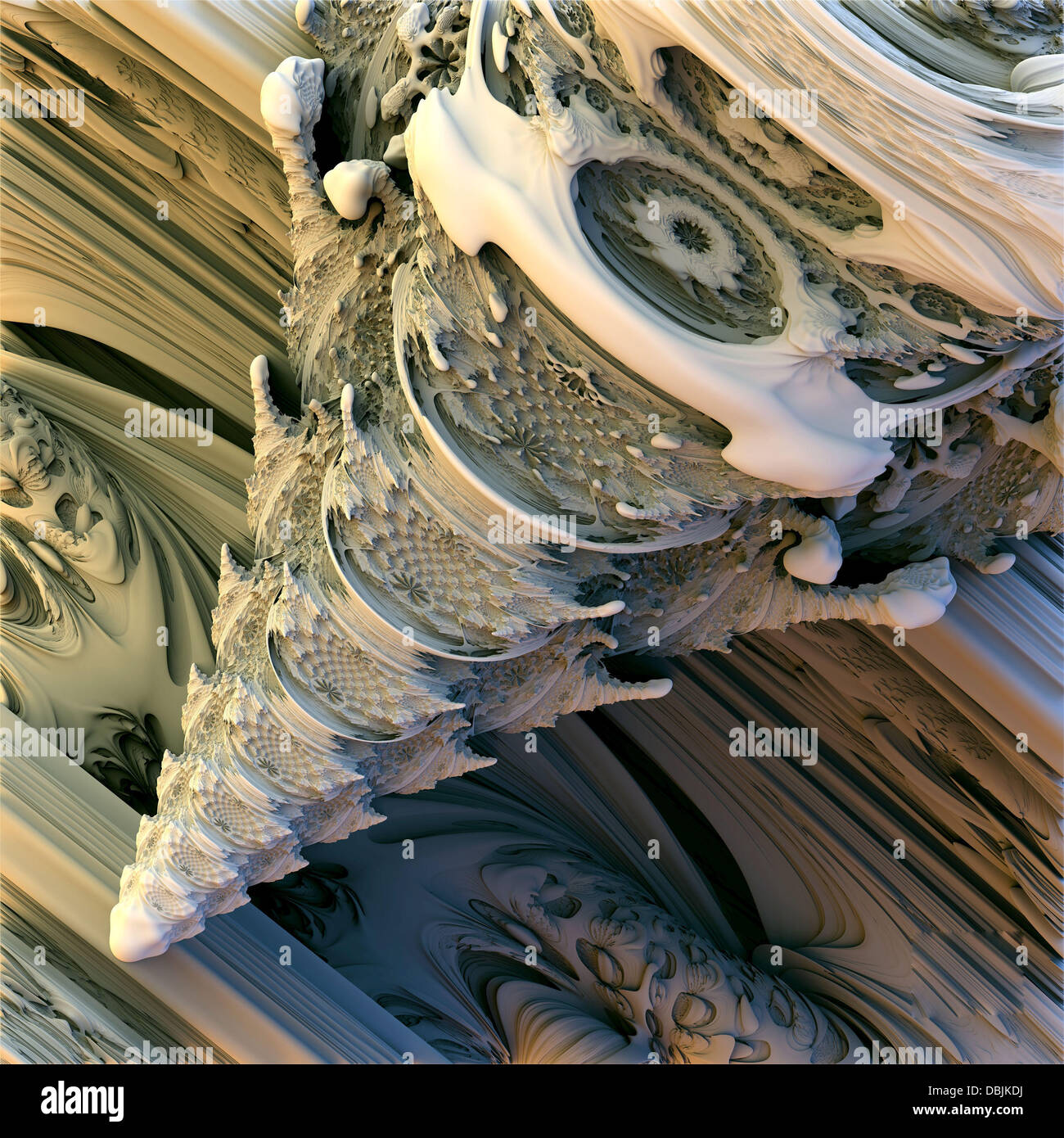 3-D MANDELBULB WORLD BOUGHT TO LIFE BY MATHS GEEKS  Photo shows: Mandelbulb Spine  A collection of amazing 3 dimensional - Stock Image