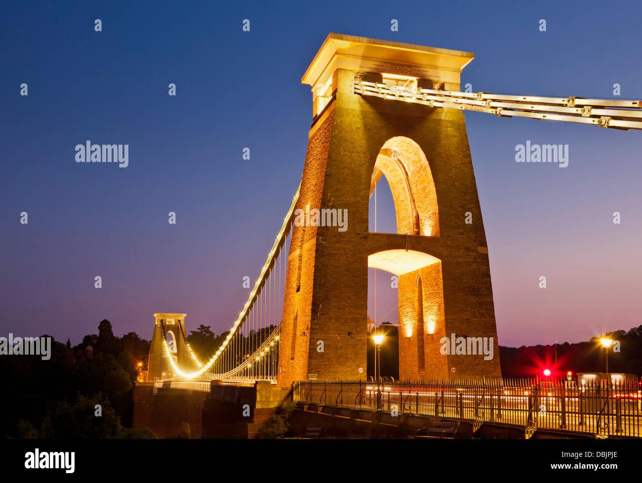 Clifton suspension bridge illuminated at night sunset clifton downs Bristol Avon England UK GB EU Europe - Stock Image