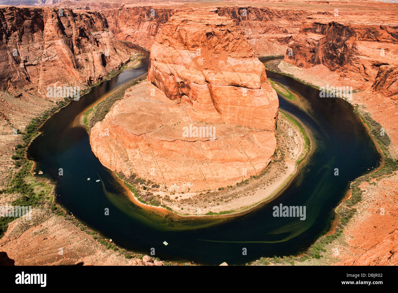 Horseshoe Bend, famous meander of the Colorado River, near Page, Arizona - Stock Image