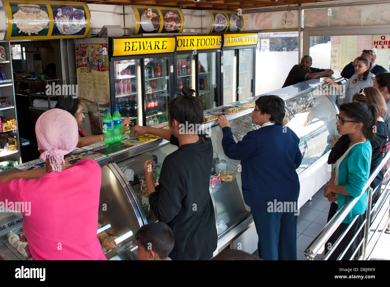 Interior of the Golden Dish take-away in Athlone, Cape Town, South Africa. - Stock Image