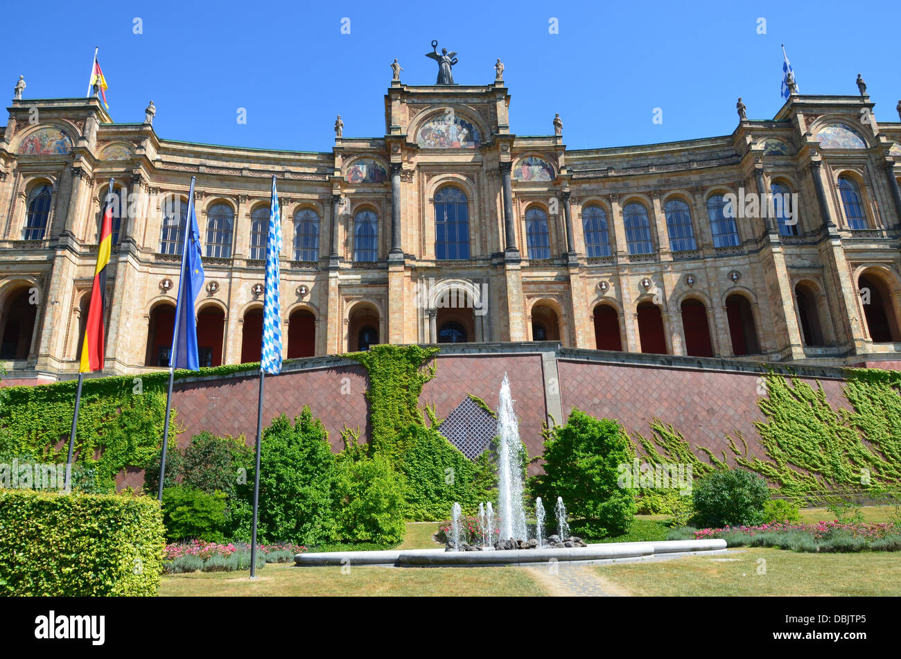 Munich  Bavarian Landtag (State Parliament) Bavarian flag German flag European flag - Stock Image