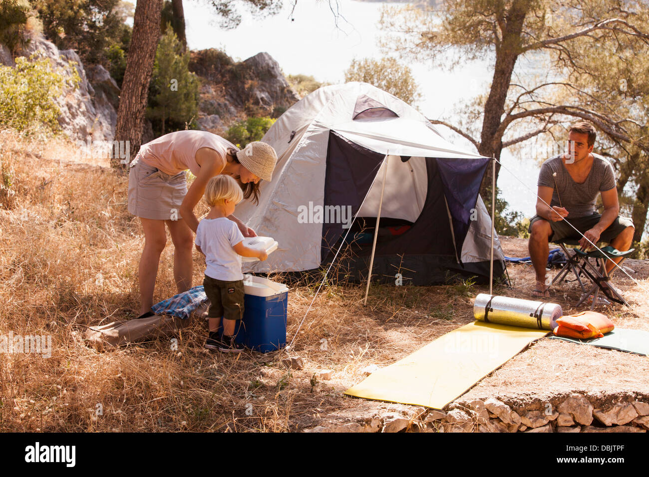 Croatia, Dalmatia, Family with one child on camping site - Stock Image