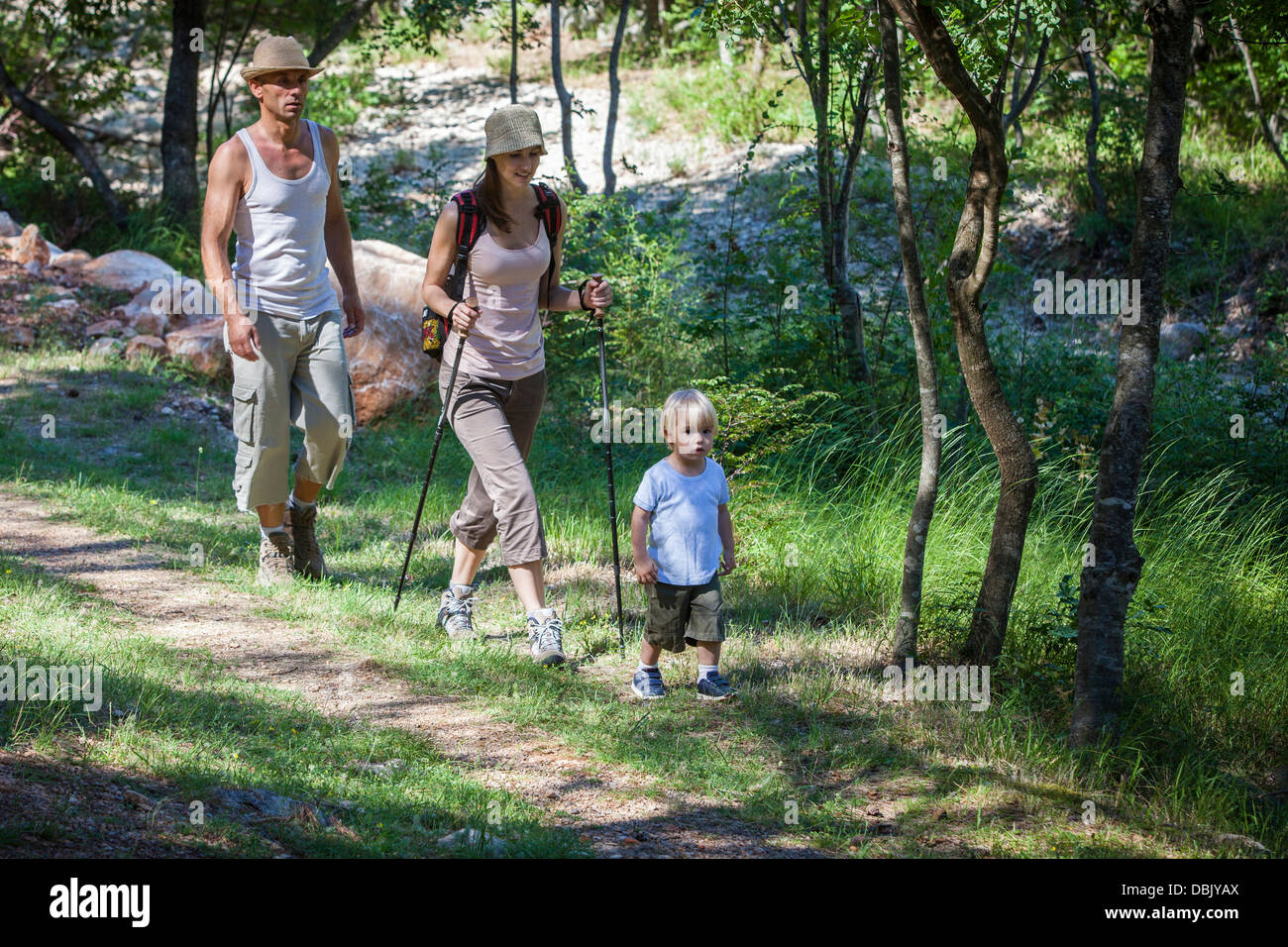 Croatia, Paklenica, Family with one child, hiking - Stock Image