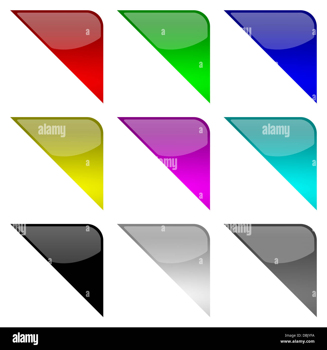 Colorful and glossy frame tag corners set on white background illustration Stock Photo