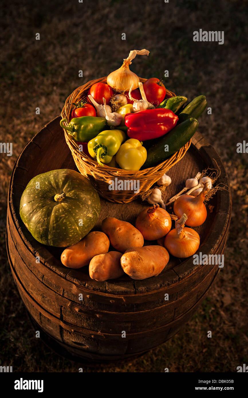 Fresh Vegetables In Baskets, Croatia, Slavonia, Europe - Stock Image
