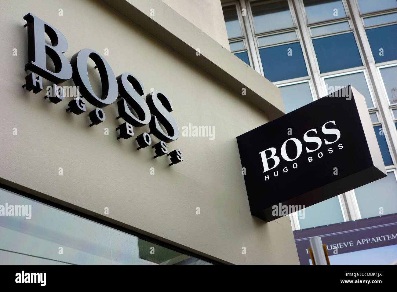 Sign showing brand logo of the fashion clothing retail store Hugo Boss - Stock Image