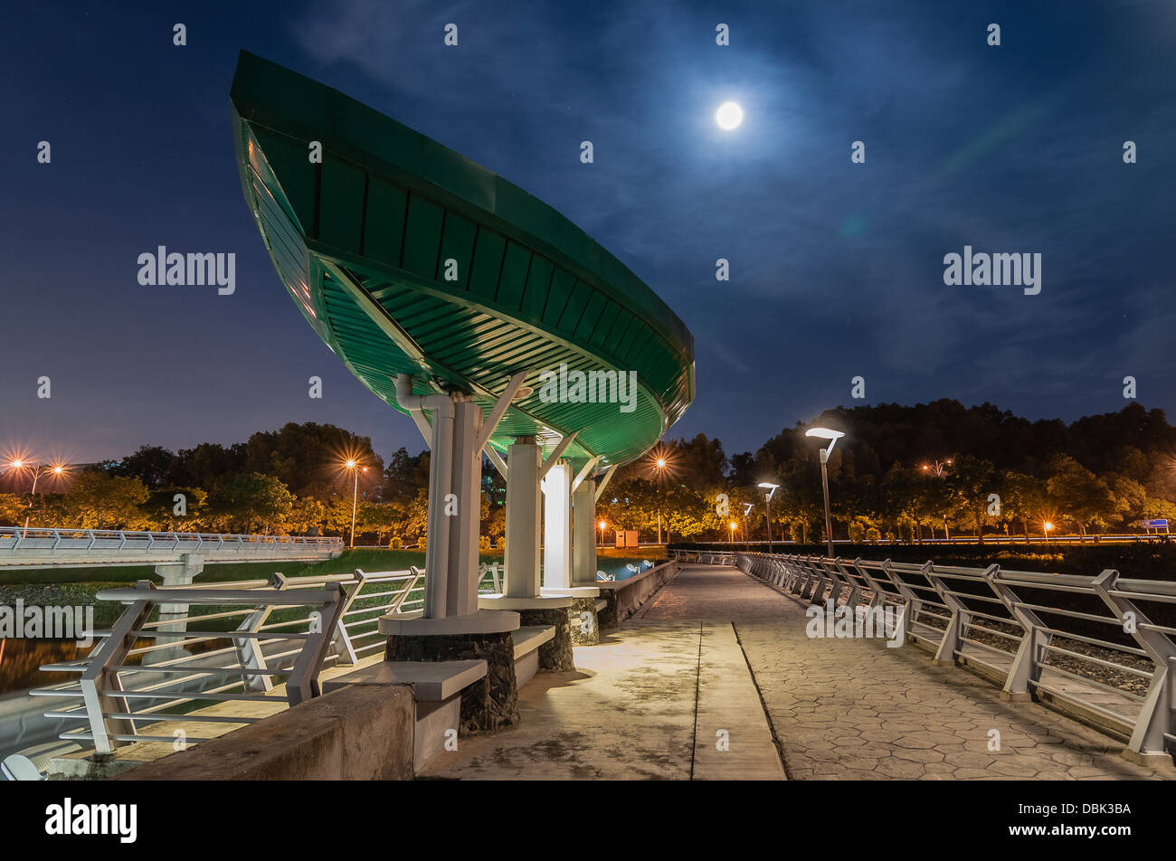 Nightscape at Putrajaya Dam - Stock Image