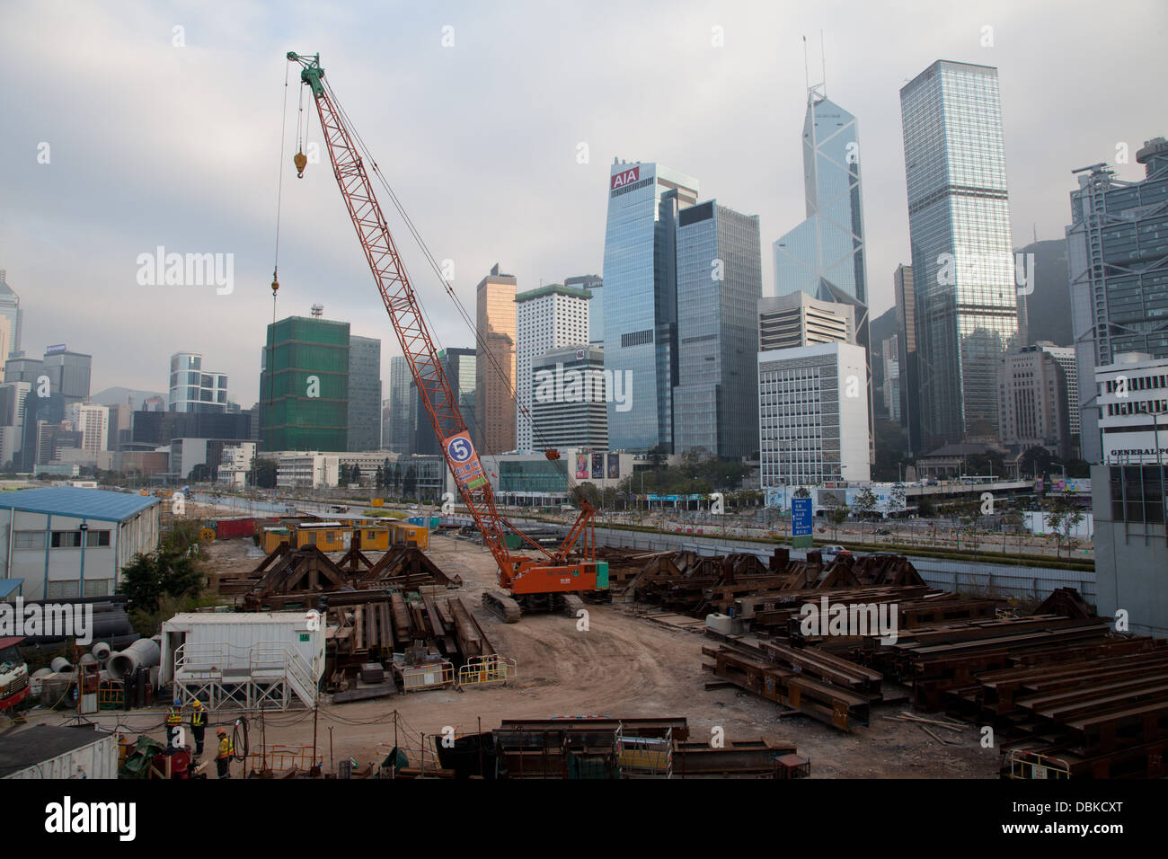 hong kong skyline harbour front construction site - Stock Image