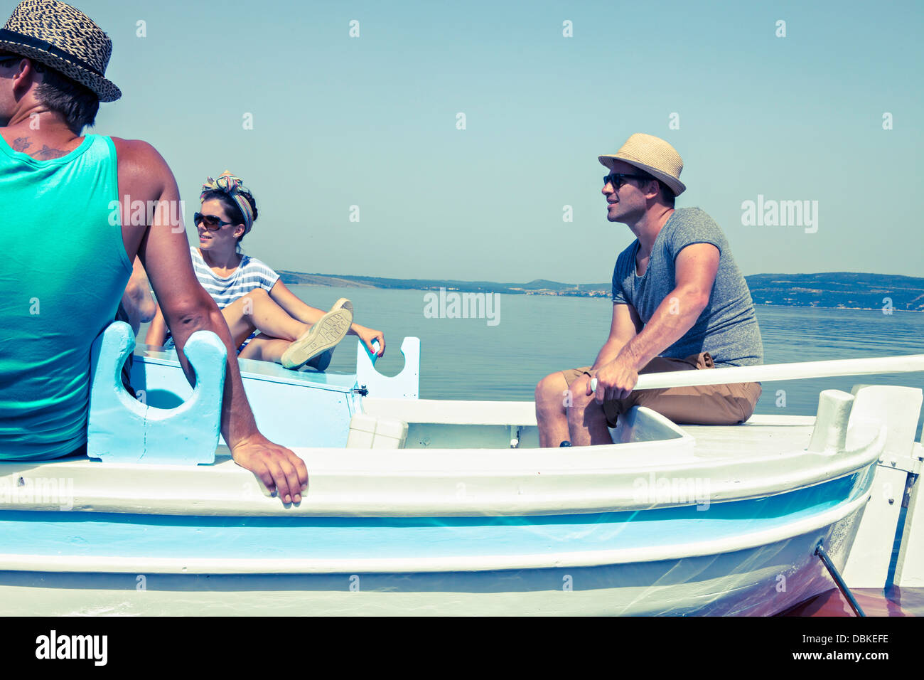 Croatia, Dalmatia, Young  people on a boat trip - Stock Image