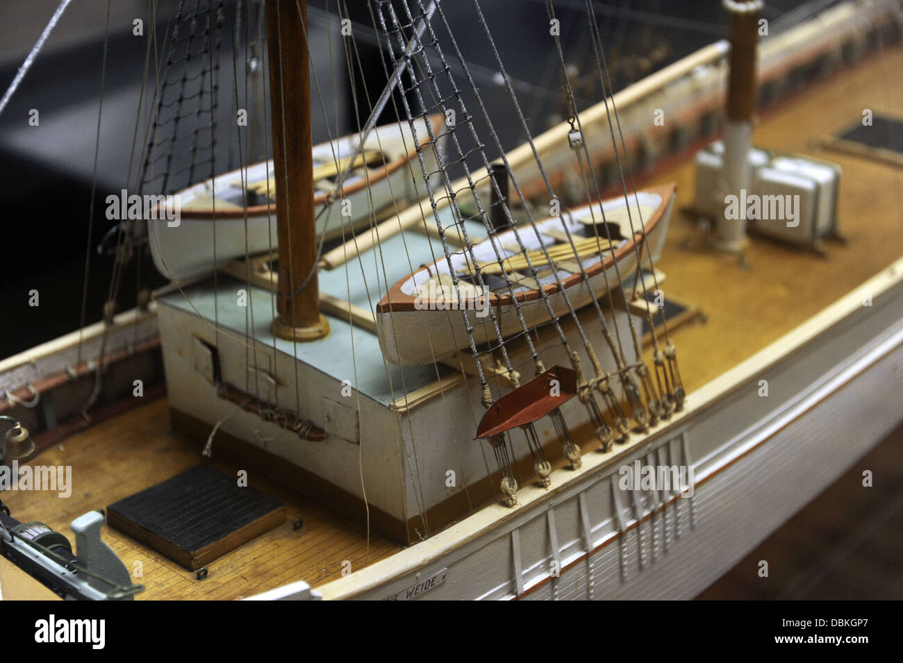 Andreas Weide Brigantine, 1881. Model by A. Bernhards, 1930. Scala: 1:25. Museum of History and Navigation. Riga. - Stock Image