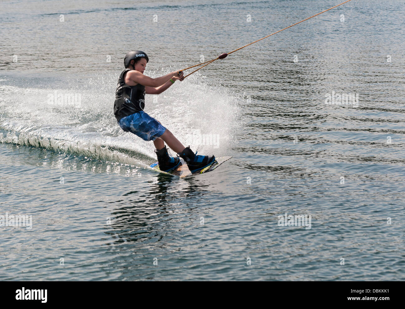 Wakeboarding at the Festival Leisure Wakeboard Park in Basildon. - Stock Image