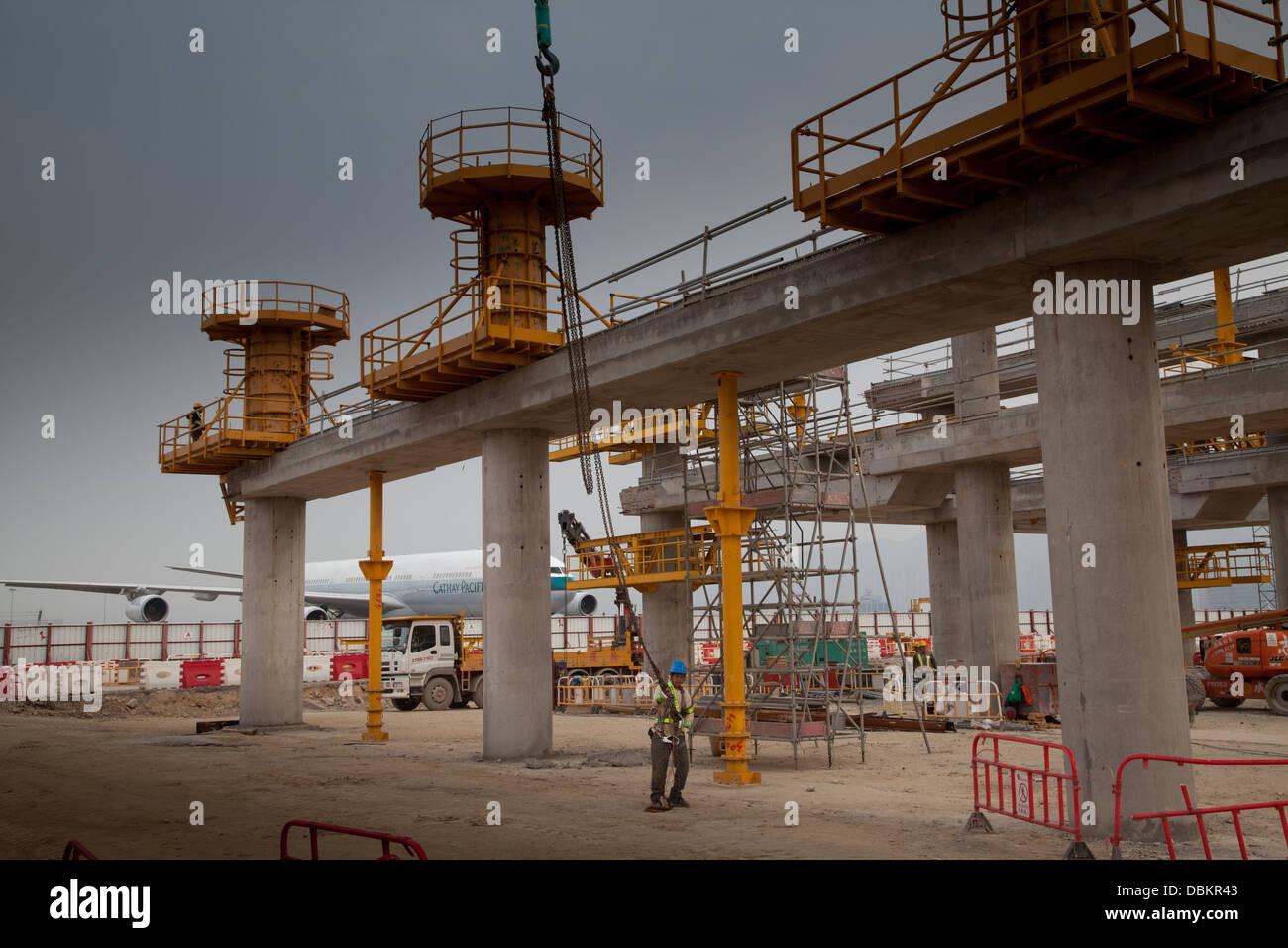 chek lap kok airport terminal construction site aviation airports - Stock Image