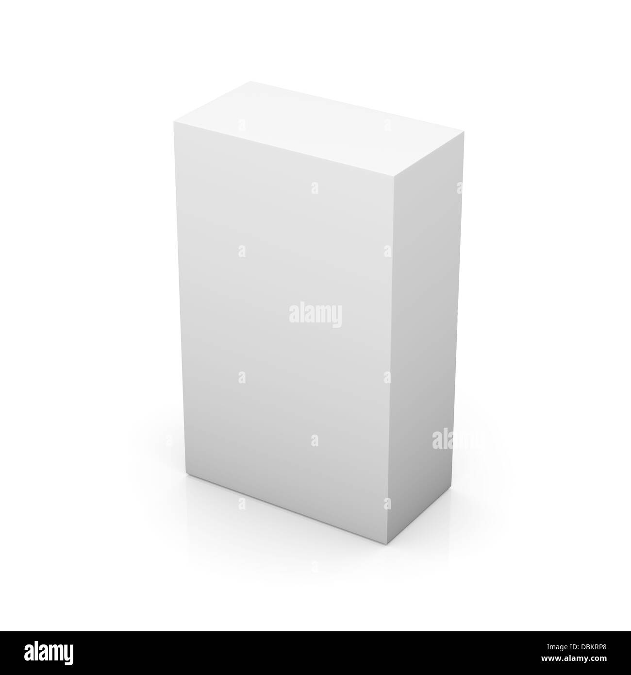 Blank box on white background with reflection - Stock Image