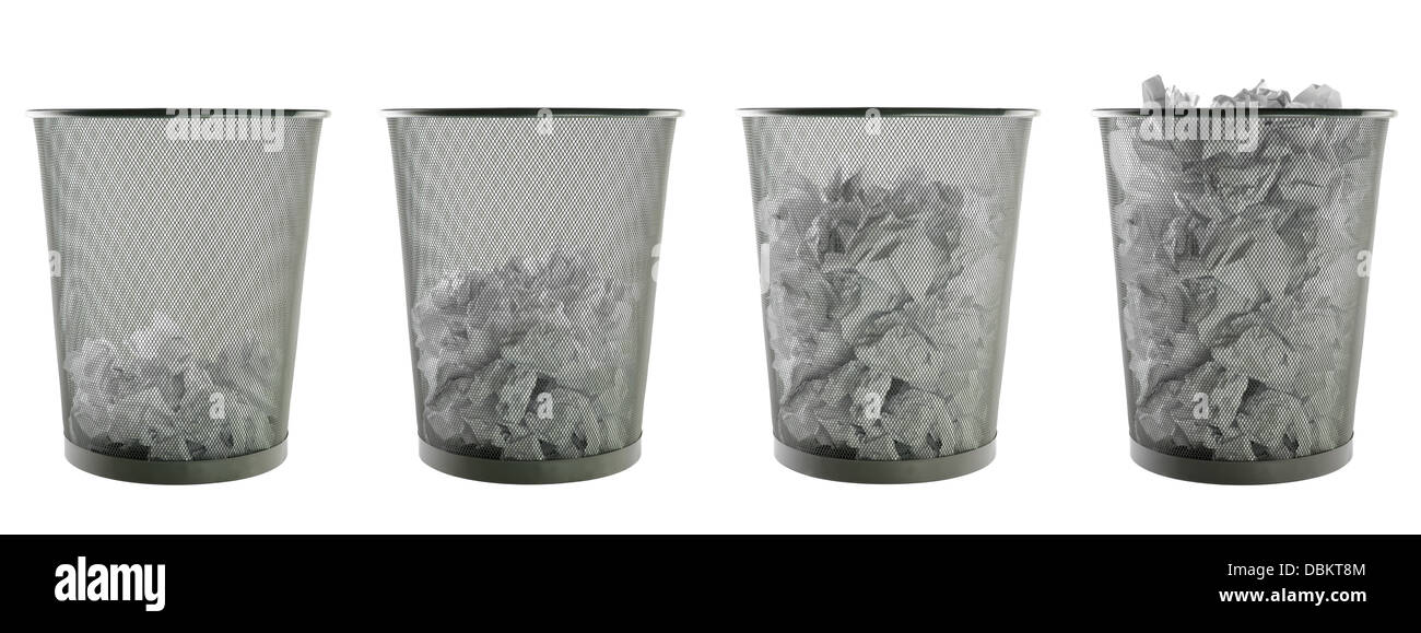 wastepapers basket on pure white background - Stock Image