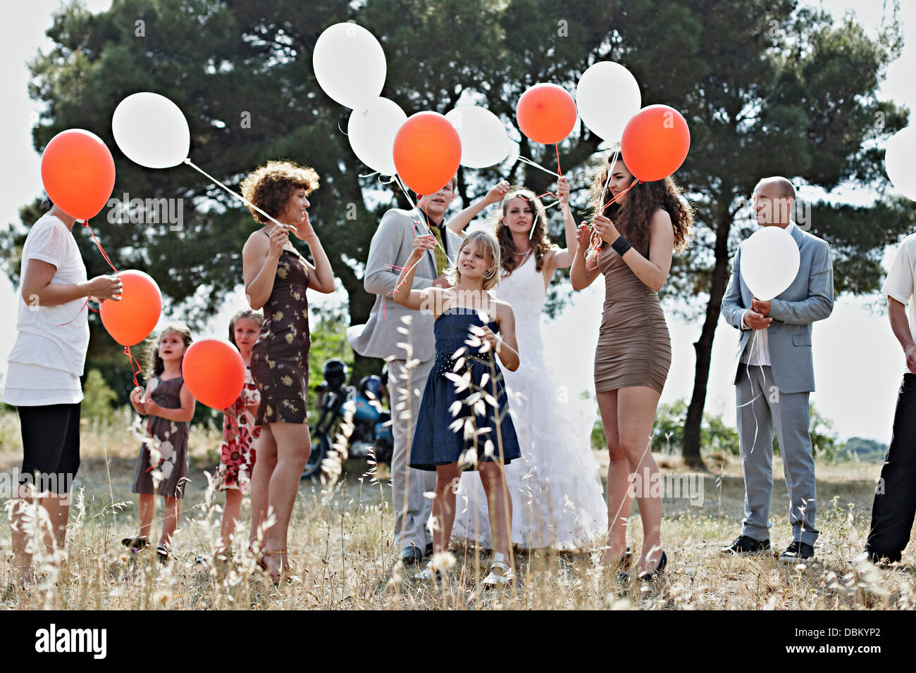 Wedding Guests With Balloons, Croatia, Dalmatia Stock Photo