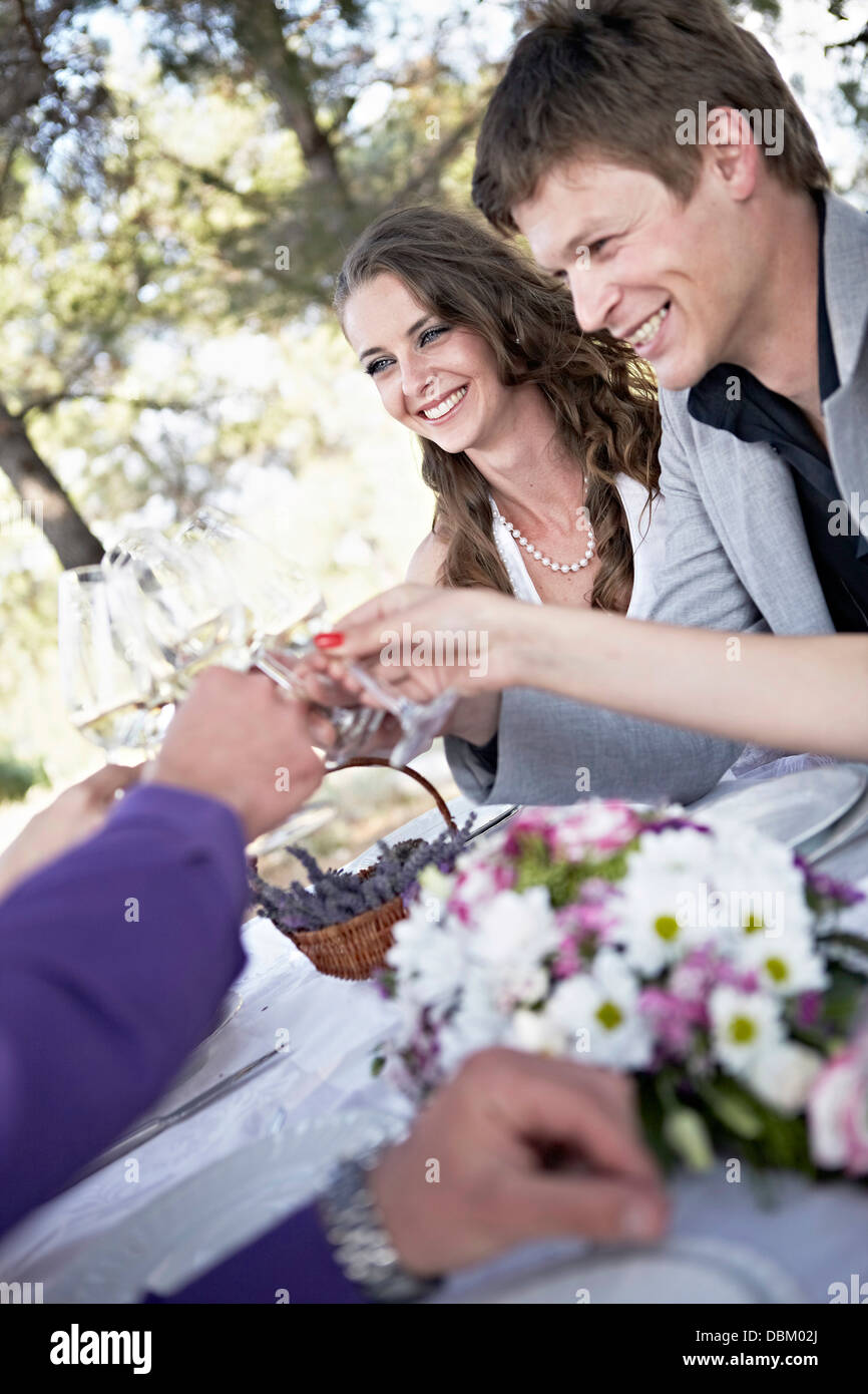 Wedding Celebration, Wedding Guests Toasting, Croatia, Europe - Stock Image