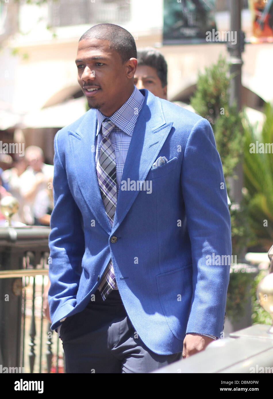Nick Cannon at The Grove for an interview on the entertainment television news programme 'Extra' Los Angeles, - Stock Image